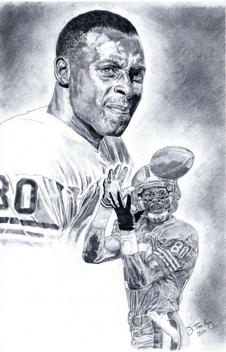 Jerry Rice of San Francisco 49ers Poster Portrait Art